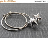 ON SALE Star Earrings, Silver Earrings, Silver Stars, Silver Jewelry, Shiny Star, Puff Star, Simple Elegance