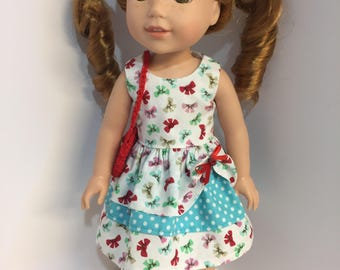 14.5 inch doll clothes Buttons and Bows dress with purse and shoes fits dolls such as Wellie Wishers