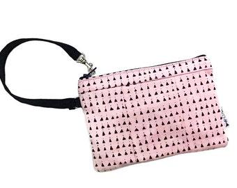 Triangles Pink Wristlet, Wallet Wristlet, Cell Phone Wristlet, Women's Wristlet Purse, Zipper Wallet