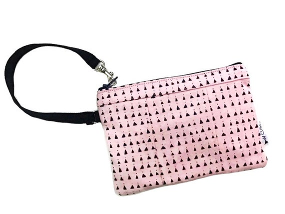Triangles Pink Wristlet Wallet, Cell Phone Wallet, Small Wristlet Purse, Zipper Wallet for Women