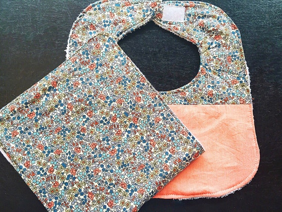 Baby Bib and Burp Cloth Set Emilia's Blue Flowers, New Baby Girl Gift, Baby Shower Gift, Drool Bib Burp Cloth