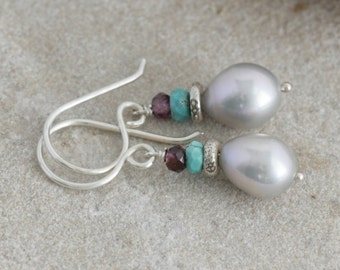Moonglow Pearl GARNET Turquoise Sterling Hill Tribe Silver Dangle Artisan Earrings // Natural Gems // luluglitterbug