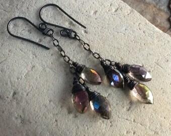 MYSTIC QUARTZ earrings, cluster earrings, sterling silver, handmade, angryhairjewelry