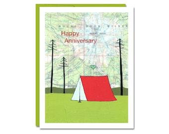Happy Anniversary Map Card // Greeting Card // Anniversary Card // Camping Card // Map Art Card // Greeting Card // Rachel Austin Art Card