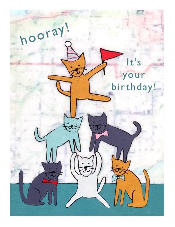 NEW // Birthday Cats Card // Birthday Card // Greeting Card // Map Art Card // Kitty Card // So Funny Birthday // Rachel Austin