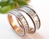 "RESERVED Listing -- Wedding Ring - Floral Florentine Vines Band - 1/4"" Wide"
