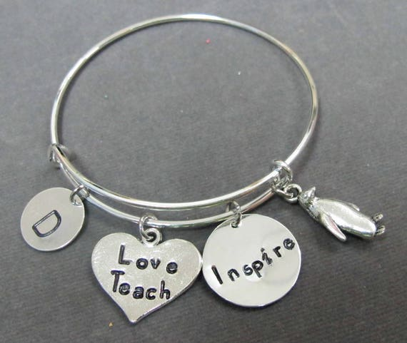 Teach Love Inspire Bracelet,Teacher Gift,Teacher Appreciation Gift, End of the Year Teacher's Gift, Gift From Student, Free Shipping In USA