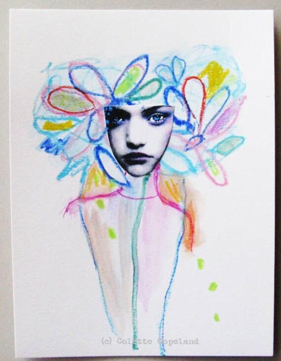 Original painting, watercolor pencil, pastel, collage, flower child