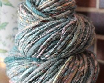 Handspun yarn, bulky, wool, tussah silk and sparkle, 3.3oz - dark storm