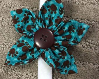Teal Blue Pawprint Pet Dog Collar Fabric Flower, Dog Collar Accessory