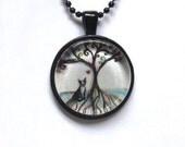 Boston Terrier Spiritual tree of life painting print Art Glass Pendant Necklace