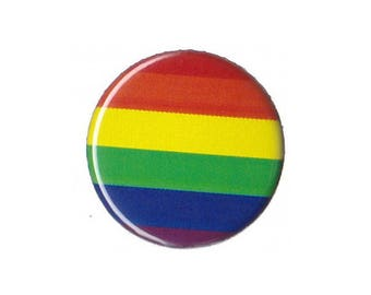 """Rainbow Pride Flag Button Badge Pinback 1"""", 1.25"""" or 2.25"""" gay lesbian queer"""