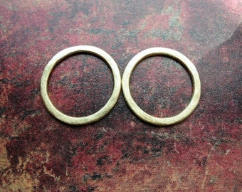 Brushed Bright Brass Links - 1 pair - 15mm - 16 gauge Soldered Circles