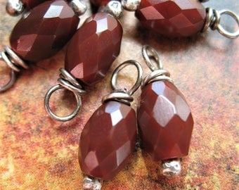 Faceted Red Carnelian and Antiqued Sterling Bead Charms - 1 Pair - 16mm in length