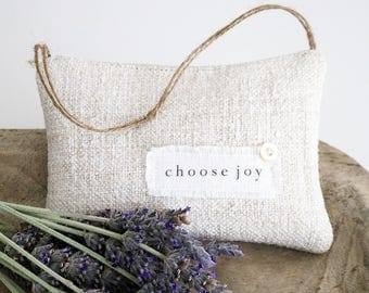 "Inspirational Lavender Sachet, ""choose joy"", Vintage Grain Sack Sachet"