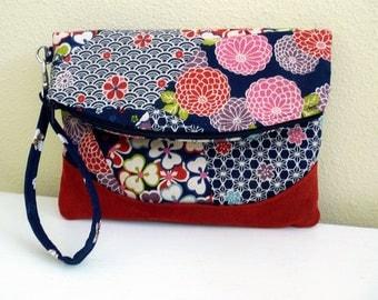 Floral Foldover Clutch, Asian Flower Print Wristlet, Fold Over Wristlet Handbag