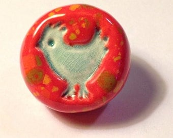 Red Speckled Knobs with Blue Chickens