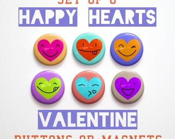 "Valentines Decor- Husband Gift- Valentine's Day Gift-  6 Happy Hearts Valentine Buttons 1 inch or Valentine Magnets- 1"" Valentine Pins"