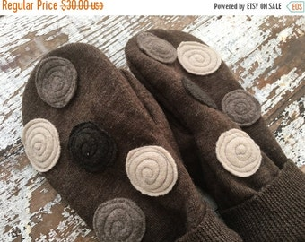 40% OFF- Felted Wool Mittens-Upcycled -Brown Spotty Dotty-Preteen
