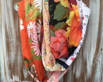 40% OFF- Floral Infinity Scarf-Fall Wardrobe-Vintage Hair Scarves Repurposed-Women-Teen-Eco Friendly
