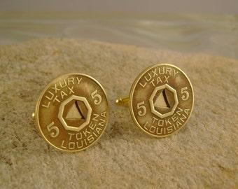 Tax Man - Vintage Authentic 1930s Louisiana Brass Luxury Tax Token Cufflinks, Man Gift, Groomsmen Gift