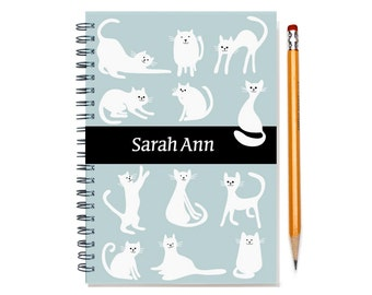 Personalized 2017-2018 planner for cat lover, weekly planner, custom gift idea, cat gift,  calendar, cat present, SKU: pli cat white