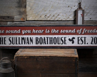 Boathouse Sign, Family Lake Sign, Boathouse Decor, Boathouse Wood Sign, Lake House Decor, Sign - Rustic Hand Made Distressed Wood ENS1000856