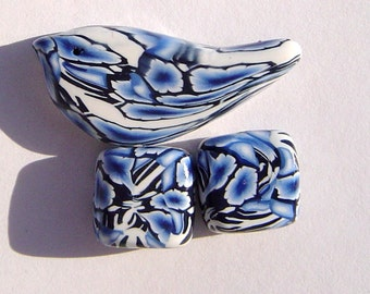 Blue Bird Artisan Polymer Clay Bead Set with Focal and 2 Flat Square Shaped Art Beads (3 Beads)