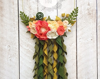Peach and Coral Felt Flower Modern Gold Ring Wreath with Hanging Leaves