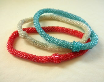 Bangle Bracelet Bundle Red White and Baby Blue Bead Crochet