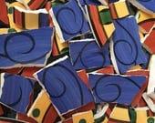Mosaic Tiles Mix Broken Plate Art Hand Cut Pieces Supply Blue sCroll Swirl White Pottery Tiles 100