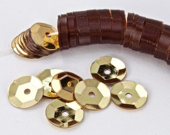 6mm Light Gold Cupped Sequin (1000 Pcs) #6569