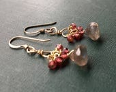 Labradorite Earrings, Pink Tourmaline Earrings, Cluster Earrings, Gold Circle Earrings, Gemstone Earrings