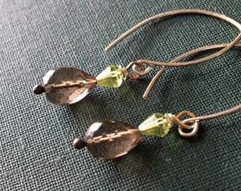 Gemstone Earrings, Smoky Quartz Earrings, Peridot Earrings, Earrings Handmade