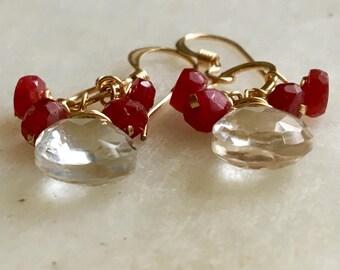 Ruby and White Topaz Earrings, Ruby Earrings, Cluster Earrings, Gold Circle Earrings, Gemstone Earrings, White Topaz Cluster Earrings