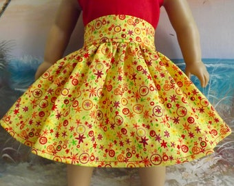 18 Inch Doll Clothes Bright Yellow With Tiny Red Florals Medley Very Fully Gathered 50s Style Skirt with Waistband