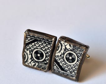 Broken China Cuff Links - Black and White