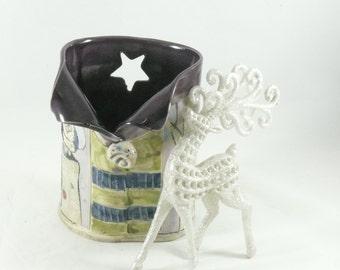 Handmade pottery vase, Desk accessory pencil holder, toothbrush holder, gift for her, art vessel office, dorm, home decor, desk 591