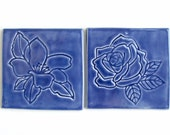 Ceramic Coasters, Set of Two, 100% Handmade, magnolia and Rose