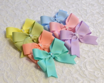 Pastel Hair Bows- 5 styles - 4 sizes - pastel toddler bows - no slip baby bows - hair bow lot - girls bows - hair bows