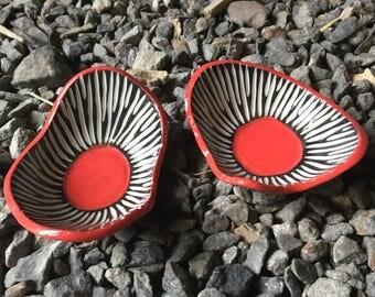 Set of Mod porcelain amoeba Dishes rings trinket