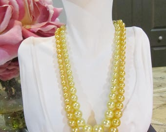 Sunshine Pearl Double Strand Beaded Necklace - 1950's - Signed