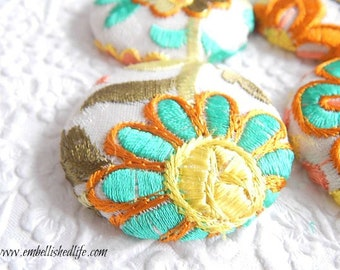 4 aqua orange white embroidered floral fabric buttons,  1 7/8 inches, 1.9 inches, 4.7 cm, 48.26 mm, size 75 buttons