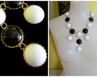 Tiered Black and White Bubble Necklace
