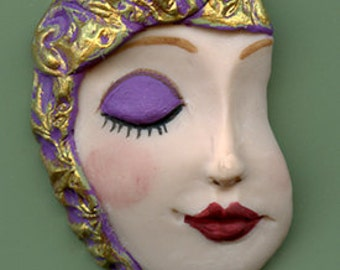 One of a kind Art  Nouveau  Doll Face Shard ANF 3