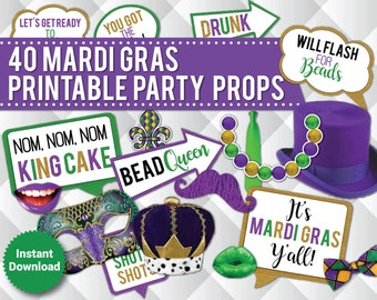 40 Adult Mardi Gras Photo Booth Props, Printable Mardi Gras Signs Props, Mardi Gras Party Decor, speech bubbles