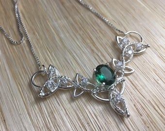Emerald and CZ Gemstone Celtic Trinity Knot Pendant Necklace with 16 Inch Sterling Box Chain, Handmade, Sterling Silver, Lab Created Emerald
