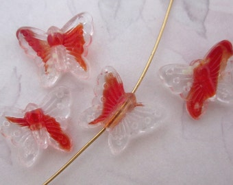 12 pcs. glass red orange givre butterfly beads 16x12mm - f5319