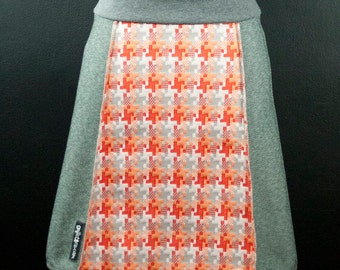 Funky Orange Pixelated Pinwheel Pattern & Grey A-Line Skirt   Multiple Sizes
