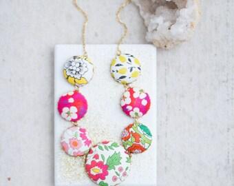 Garden Lover Flower Statement Necklace, Liberty Of London Fabric Necklace, Flower Necklace